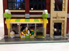 Direct view of the ice cream shoppe (jskaare) Tags: street building green shop studio fire town hall lego market grand architect creation modular icecream custom emporium own grocer brigade shoppe moc cafecorner