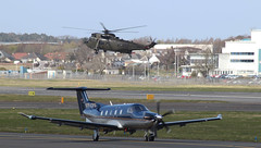 Pilatus PC-12 and Westland Commando (FuriousGM) Tags: sea airport king aviation helicopter pilatus pc12 westland commando prestwick pik seaking egpk za297 vpcpx