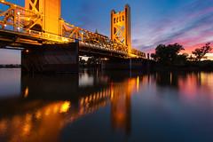 Tower Bridge Lights (boingyman.) Tags: bridge light sunset water towerbridge river glow cityscape sacramento scape sacramentoriver waterscape landsacpe boingyman