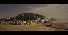 Hastings / UK / England (zilverbat.) Tags: uk travel vacation england panorama cinema beach landscape boats town europa village calendar unitedkingdom outdoor postcard gb coastline cinematic fromthearchives zilverbat