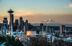 Wake Up Seattle! (NW Vagabond) Tags: seattle skyline sunrise dawn downtown center mountrainier spaceneedle keyarena mtrainer 2013