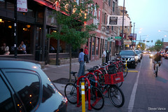 New bike parking corral at Logan Square's Revolution Brewing (Steven Vance) Tags: chicago logansquare bikerack milwaukeeavenue bikeparking revolutionbrewing lumixg20f17 bikechi