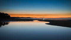 42-25421534 (higen999) Tags: blue light sunset sky reflection beach water outdoors evening coast state horizon smooth australia nobody headlights serenity queensland copyspace clearsky vehiclelight