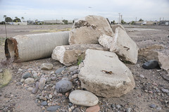 South 16th Street (GC_Dean) Tags: street city arizona urban color abandoned colors phoenix clouds concrete flora rocks cityscape colours shadows space structure shape mundane emptiness vacantlot fillflash softlight sociallandscape oncameraflash diffuselight focusedfillflash