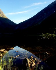 Vatn i skygge -|- Light in Shadowed Lake (erlingsi) Tags: shadow skygge lake vatn litledalsvatn bjrdal rsta landscape iphoneshot norway europe scandinavia lakescape mountains