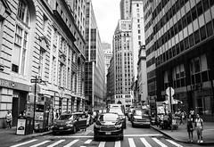 Wall Street (OneMarie!) Tags: calle street autos cars transportation turismo nyc ny newyork usa nikon d7100 bw bn blackwhite edificios buildings lines lineas wallstreet city