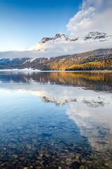 Lake Silvaplana (fede_gen88) Tags: mountains switzerland schweiz suisse svizzera autumn nature snow alps engadin engadine engadina alpine valley swiss graubünden lake silvaplana silvaplanersee grisons grigioni