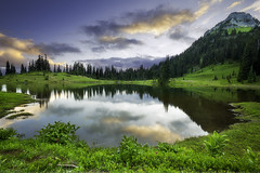 Tipsoo Lake, WA (3dRabbit) Tags: tipsoo lake mount rainier wa national park reflection water sunset evening sungjinahn canon wideangle 1635 rock tree glass green outdoor landscape river creek serene grass plant sky cloud hills hill garden field mountain grassland