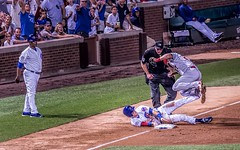 Safe At Third! (Wes Iversen) Tags: chicago chicagocubs chriscoghlan fencefriday hff illinois jhonnyperalta stlouiscardinals wrigleyfield wrigleyville baseball bricks fence fences men people spectators sports women