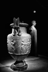 Pompeii Exhibit - Montreal Museum of Fine Arts (Astroredg) Tags: bw nb blackandwhite noiretblanc muse museum pompeii vase statue contrast contrastes exhibit exhibition montreal mmfa mbam montrealmuseumoffinearts musedesbeauxartsdemontral sculpture herm rufo corneliorufo herms urn greek urne grecque grec