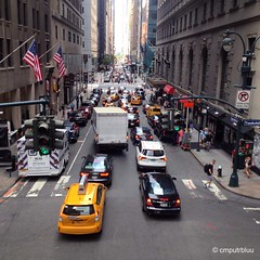 W. 44th Street (cmputrbluu) Tags: iphoneography iphone iphone4s nyc newyorkcity instagramapp instagram vanishingpoint traffic