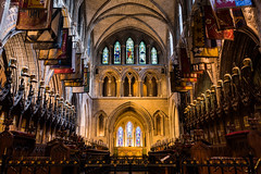 St. Patrick Cathedral Front Interior Dublin Ireland Famous Architecture (HunterBliss) Tags: arches architectural architecture brick cathedral catholic culture dark europe european famous flags glass glow grey helmets historic historical history iconic ireland irish landmark lights low medieval monument orange patrick perspective protestant religion room st stain stained stone