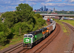 "Westbound Transfer in Kansas City, KS (""Righteous"" Grant G.) Tags: bnsf burlington northern railroad railway locomotive train trains up union pacific kansas city west westbound transfer freight"