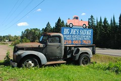 Big Joe's Salvage, Tofte Minnesota (Cragin Spring) Tags: 1941chevrolet34ton truck chevy chevrolet 1941 bigjoessalvage scrap scrapyard salvage sign vehicle mn midwest minnesota tofte rural hwy61 unitedstates usa unitedstatesofamerica