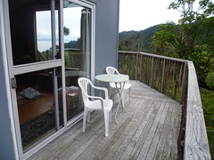 side deck with table and chairs (Sudarshanaloka) Tags: sudarshanaloka tara soitarycabin newzealand triratna buddhist buddhism nature bush solitarycabin retreat solitaryretreat meditation