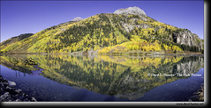 Mt. Hayden, Crystal Lake, Reflection (Daryl L. Hunter - Hole Picture Photo Safaris) Tags: autumn daryllhunter falcolors sanjuanmountins usa colorado coloradorockies goldenaspen redoak rockymountains snowcappedmountains unitedstates
