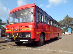 Low angle shot of  brand new EICHER bus of Miraj Depot (gouravshinde94) Tags: msrtc eicher bus sangli