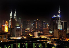 Kuala Lumpur Skyline at Night (klauslang99) Tags: architecture asia building buildings business cities city cityscape cityscapes color colour contemporary economy exterior finance finances financial futuristic height illuminated illumination kualalumpur lights lowangleview malaysia night nighttime office offices outdoors outside skyscraper tall tower towers travel travels urbanlandscape urbanlandscapes vertical viewbelow worldlocations worldtravel kltower petronastowers klauslang