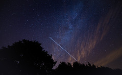 ISS crossing the Milky Way (Lux Obscura) Tags: iss internationalspacestation milkyway trees clouds blue night stars cosmos cassiopeia light pollution constellation reality sky