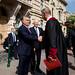 Ministerpräsident Viktor Orbán kommt zum 15-jährigen Jubiläum der Andrássy Universität Budapest am 15. September 2016 an, András Masát, Rektor der Andrássy Universität Budapest empfängt ihn. .Orbán Viktor miniszterelnök megérkezik az András