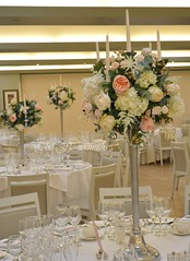 Table centrepiece (The Flowersmiths Wedding Flowers) Tags: theflowersmiths tablearrangements centerpieces candelablra tall whitehydrangea hevercastlewedding kentweddingflorist weddingfloristinkent weddingflowers romanticweddingflowers beautifulflowers freshflowers