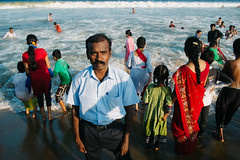 Chennai, India 2016 (f.d. walker) Tags: asia chennai india streetphotography street sunlight shadow sun streetportrait sky sea strange ocean oceanfront odd man men beach water waves face mustache madras people person vacation holiday collar shirt clothes wet color candidphotography candid colorphotography colors contrast children child city woman women chaos travel