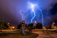 Lightning Over Denver (rogerbrownphoto) Tags: stormy clouds longexposure nightphotography night beautiful nature downtown electricalstorm rainy rain storm sky lightning colorado denver