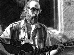 Music in the street (Franco DAlbao) Tags: francodalbao dalbao fuji retrato portrait lpiz pencil msico musician guitarra guitar bn bw monocromo monochrome hombre man procesado processing