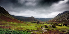 The Hills Have Eyes. (Pete 5D......) Tags: path wall mountain hill green red dark sky clouds low lake district cumbria