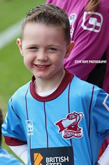 Scunthorpe United mascot v Sheffield United 2016 (SteveH1972) Tags: canon70200lf28usmnonis canonef70200f28lusm canon70200 canon700d canon child kid boy mascot glanfordpark scunny united iron outside outdoor outdoors football soccer person people northlincolnshire northernengland britain uk europe happy