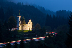 Passing (Lars verb) Tags: church road traffic light tracks mountain tree forest evening fog rain car austria travel landscape canoneos5dmarkii canon24105f4lis