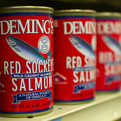279/366 - Salmon Ladder (sdgiere) Tags: salmon can canned grocery groceries shelf demings dubuque iowa