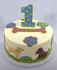 Puppy Dog Birthday Cake (My Sweet Austin) Tags: blue dog green grass cake puppy birthdaycake bone pawprint 1stbirthday fondant greenandblue partycake mysweetaustin