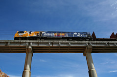 PN008 from below (PJ Reading) Tags: above bridge high diesel brisbane queensland locomotive below freight containers wagons northcoast pacificnational pnq pnclass moolabin