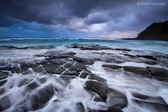 Aqua (SoniaMphotography) Tags: ocean blue sea seascape storm beach rain clouds sunrise nationalpark overcast australia nsw garie