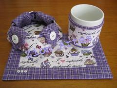 mug rug com cestinha (Zion Artes por Silvana Dias) Tags: caf patchwork caneca ch cesta mugrug cestadepo tecidocupcake tapetedecaneca cestatecido zionartes
