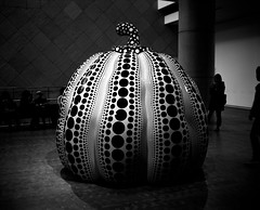 pumpkin (troutfactory) Tags: blackandwhite bw sculpture art film monochrome japan mediumformat pumpkin rangefinder polkadots  osaka analogue 6x7 kansai  yayoikusama  kusamayayoi  nmao  kodaktmy400  nationalmuseumofartosaka  fujifilmgf670 voigtlanderbessaiii