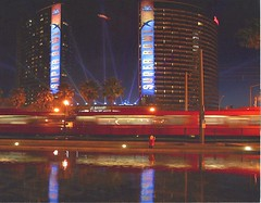 Super Bowl, 2003 (SDMTS) Tags: 2003 reflection night train sandiego metro trolley tram transit superbowl lightrail streetcar lrt mts lrv sandiegotrolley metropolitantransitsystem