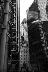 "Lloyds of London and ""the Gherkin"" (BournemouthMike) Tags: england abstract london glass metal architecture skyscraper canon 30stmaryaxe thegherkin lloydsoflondon sigma1020 canon600d"