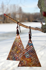 Ornament (khomzh) Tags: handmade jewelry ornament metalwork copper earrings oriental patina     etchedcopper   heatedpatina