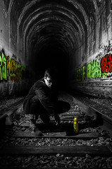 Subway Colors (DigitalHaze) Tags: street longexposure red portrait people urban blackandwhite bw orange black green colors lines rock night contrast train dark underpass photography graffiti evening losangeles intense nikon rocks downtown bright photos tunnel gritty dslr lowkey 1755 d300 1755mm