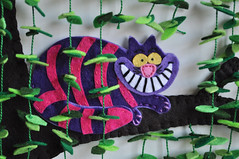 Cheschire Wonderland (HibouDesigns) Tags: leaves purple felt handsewn etsy wonderland aliceinwonderland hotpink hibou cheschirecat magicalforest plushteam hiboudesigns