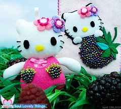 Berry Kitty with Her Blackberry (Soul Lovely Things) Tags: cute fruit cat garden design doll blackberry handmade hellokitty crafts kitty craft kawaii raspberry lovely berrykitty kawtharalhassan soullovelythings