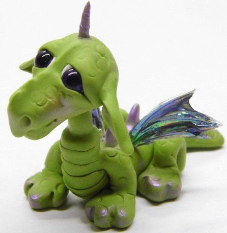 "Ooak Handmade Polymer Clay Woodland Baby Dragon ""Binzy"" Fantasy Art Doll"
