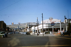 Utoco station, Salt Lake City, July 1949 (STUDIOZ7) Tags: cars utah ut theater theatre centre automotive streetscene gas gasstation tires capitol 1940s saltlakecity atlas service gasoline standard globes forties panam vico 40s amoco gaspumps motoroil quakerstate petroliana utoco pep88