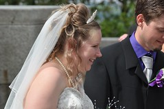 Happy Bride (bryanpage) Tags: wedding tiara groom bride necklace veil teeth pearls suit laugh lancaster weddingdress bridegroom bryanpage williamsonpark ashtonmemorial michellepage