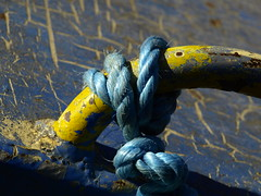 Blue Yellow and Texture (cycle.nut66) Tags: blue yellow primary prime colour colours handrail hand rail rope nylon steel paint cracked texture work boat narrow narrowboat gramd union canal aylesbury arm know moored mooring crazing crazed olympus e510 evolt four thirds zuiko