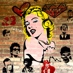 marilyn-04-07 (PASLIER MORGAN) Tags: red streetart dylan art love colors collage wall marilyn rouge army star grafitti you tag culture graph amour hero spock actress iloveyou hendrix mur couleur icone artiste bluesbrother brillant jetaime dutronc diams