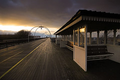 Gimme shelter..... (Chrisconphoto) Tags: uk sunset lines pier seats shelter southport merseyside goodlight southportpier gimmeshelter leadin