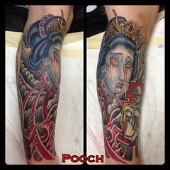 #geisha #severedgeishahead #bloodwater #japanese #tattoo #geishatattoo